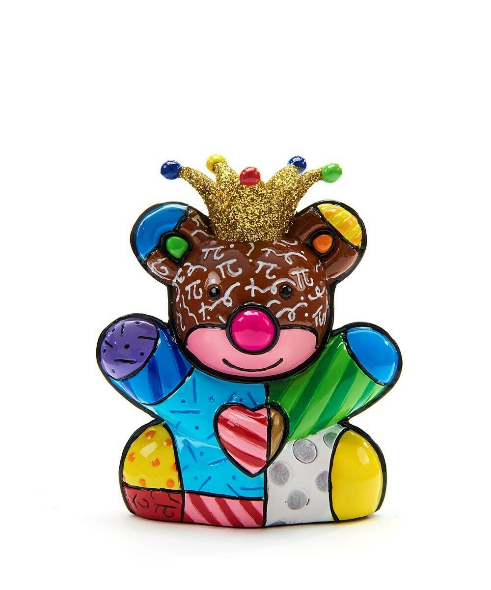 Romero Britto Miniature Happy Bear 10th Anniversary w Metallic Gold Crown