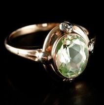Vintage 1930's 10k Yellow & White Gold Oval Uranium Glass Ring 2.12ctw 2.3g - $295.00