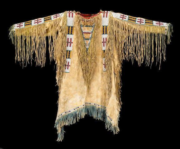 Mens New Native American Buckskin Beige Buffalo Hide Bead Powwow War Shirt NA143