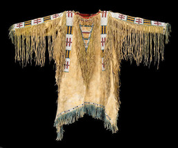 Mens New Native American Buckskin Beige Buffalo Hide Bead Powwow War Shi... - $269.10+