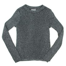 H&M Girls Black Metallic Silver Ribbed Mock Turtleneck Holiday Top Youth... - $14.84