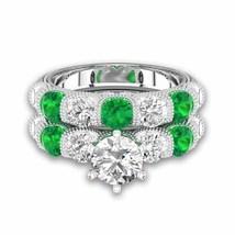 Round Emerald & Sim Diamond With Six-prong Bar Setting Bridal Set For Female - $130.00