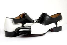 Men Hand Made Anastasio Resurrection Black & White Spectator Leather Shoes image 1