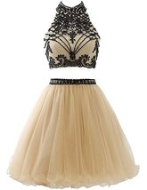Formal Halter Short Homecoming Dresses Hollow Tulle Beaded Prom Party Go... - $134.00