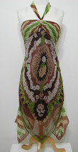 BCBG Maxazria 100% Silk Brown Floral Leaf Print Asymmetrical Hem Halter ... - $116.99