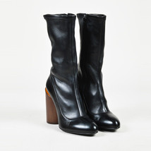 "Givenchy NWT ""Noir"" Black & ""Marron"" Brown Leather Block Heel ""Show"" Boo... - $465.00"