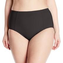 NEW Kenneth Cole Plus 1X Ruffle Shuffle Solid Hi Waisted Bikini Bottom Black - $15.80