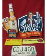 Vintage Lot of Beer Auto Tag and Hardware Man Cave Signs - $39.59