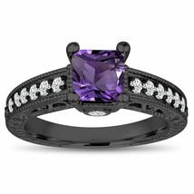 Princess Cut Amethyst Engagement Ring, 1.35 Carat 14K White Gold or Blac... - $1,428.00