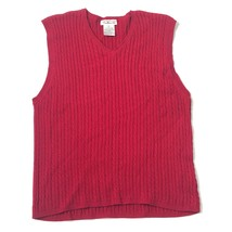 Talbots V-neck knit Sweater Size S Small Red Sleeveless Fisherman Ribbed Collar - $15.93