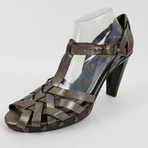 Stuart Weitzman T Strap Sandal Women 9.5M Cage Weave Stud Detail Metallic Pewter - $49.99