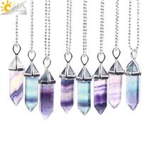 CSJA Fluorite Necklace Pendant Natural Gem Stone Quartz Bullet Hexagonal... - $16.99