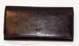 Rina Rich Brown Checkbook Wallet Trifold Vinyl
