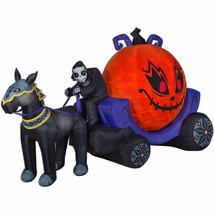 Halloween Airblown Inflatable Fire & Ice Reaper Pumpkin Carriage Scene12... - $198.49