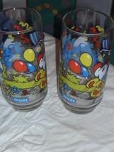 2 Vintage Smurf Glasses - $8.55