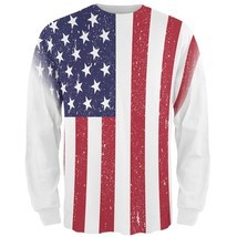 4th of July American Flag Distressed All Over Mens Long Sleeve T Shirt - $36.95+