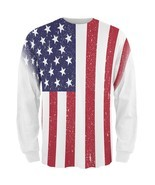 4th of July American Flag Distressed All Over Mens Long Sleeve T Shirt - $710,69 MXN+