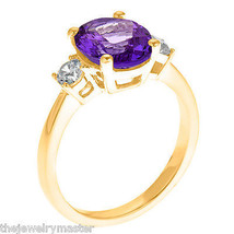 AMETHYST & DIAMOND ENGAGEMENT RING 3-STONE OVAL SHAPE YELLOW GOLD 2.73 C... - €1.015,29 EUR
