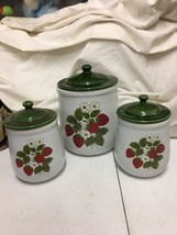 Vintage McCoy Strawberry Country Flour Jar 2 Sugar Jars with Lids cannis... - $59.99