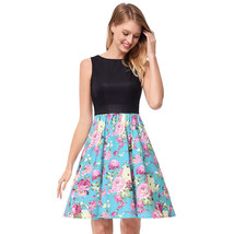 AOVEI Light Blue Floral Print Hit Color Vest 1950s Flared Prom Pleated Dress - $24.99