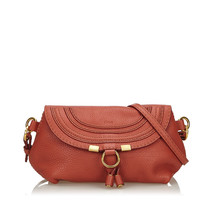 Pre-Loved Chloe Red Bordeaux Others Leather Small Marcie Crossbody Bag B... - $433.84