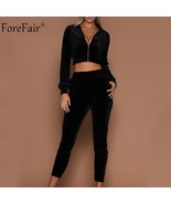 Forefair Casual Two Piece Set Women Autumn 2018 Long Sleeve Top Sexy Cro... - $52.92