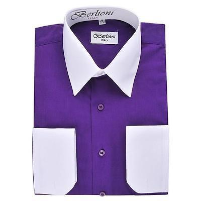 BERLIONI ITALY MEN'S PREMIUM WHITE COLLAR & CUFFS TWO TONE DRESS SHIRT PURPLE