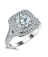 Newshe Wedding Band Engagement Ring Set Silver Round Princess CZ - $11.99