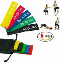 Set of 5 Elastic Resistance Loop Bands Exercise Sports Fitness Home Gym ... - $8.65
