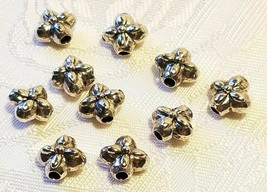 FOUR POINT FLORAL FLOWER FINE PEWTER BEAD - 9x9x6mm; Hole 2mm image 1