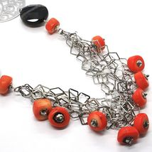925 Silver Necklace, Agate Faceted Disc, Coral, Medallion, 80 cm image 3