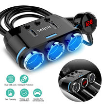 12V 3 Way Car Cigarette Lighter Socket Splitter Dual USB Charger Power A... - $46.00