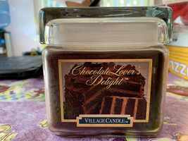 Large Chocolate Lover's Delight Village Candle Glass Jar Smells Yummy Ra... - $39.99