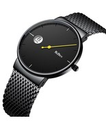 BIDEN Creative Minimalist Men's Watches Luxury Mesh Band Full Steel Blac... - $36.09+