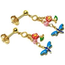 Boucles D'Oreilles Pendantes or Jaune , Fille, Fleurs, Papillons, Vernis Et image 2