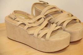 NIB Via Spiga ROBIN Suede Platform Open Peep Toe Sandals Sz 10 M  Cappuc... - $39.72