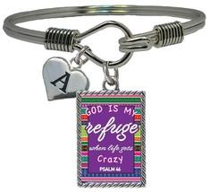 Custom God is My Refuge Psalms 46 Silver Cuff Bracelet Jewelry Choose Initial - $14.24