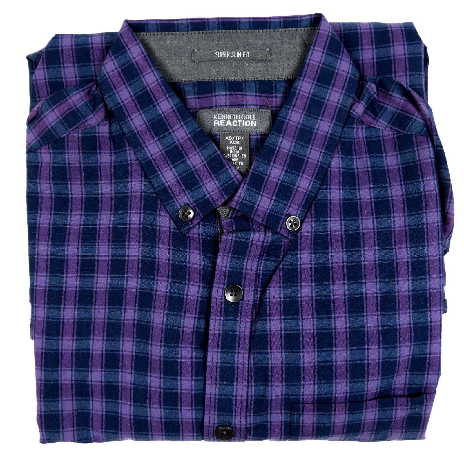 Kenneth Cole Reaction Shirt Men's Super Slim Fit Long Sleeve Button-down #23