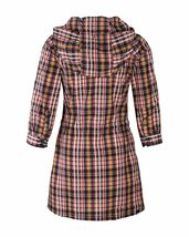 Bench UK Plaid Navy Yellow Red Cocoa Tunic Cotton Poly Dress w Hood NWT image 3