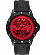 BRAND NEW MICHAEL KORS BAYVILLE MK9042 BLACK SILICONE RED CRYSTAL MEN'S ... - £128.70 GBP
