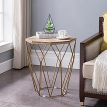 Madison Natural Reclaimed Wood with Gold Octagonal End Table - $456.26