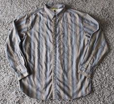 The North Face Men's Button Down Striped Shirt Sz M Blue Gray Cotton A29 - $15.88