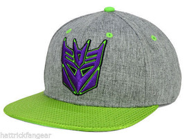 Bioworld Transformers Decepticon Shiny Green Flat Visor Snapback Cap Hat... - $20.89