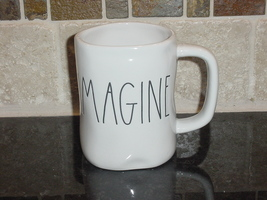 Rae Dunn  IMAGINE Rustic Mug, Ivory with Black Letters, New! - $13.00
