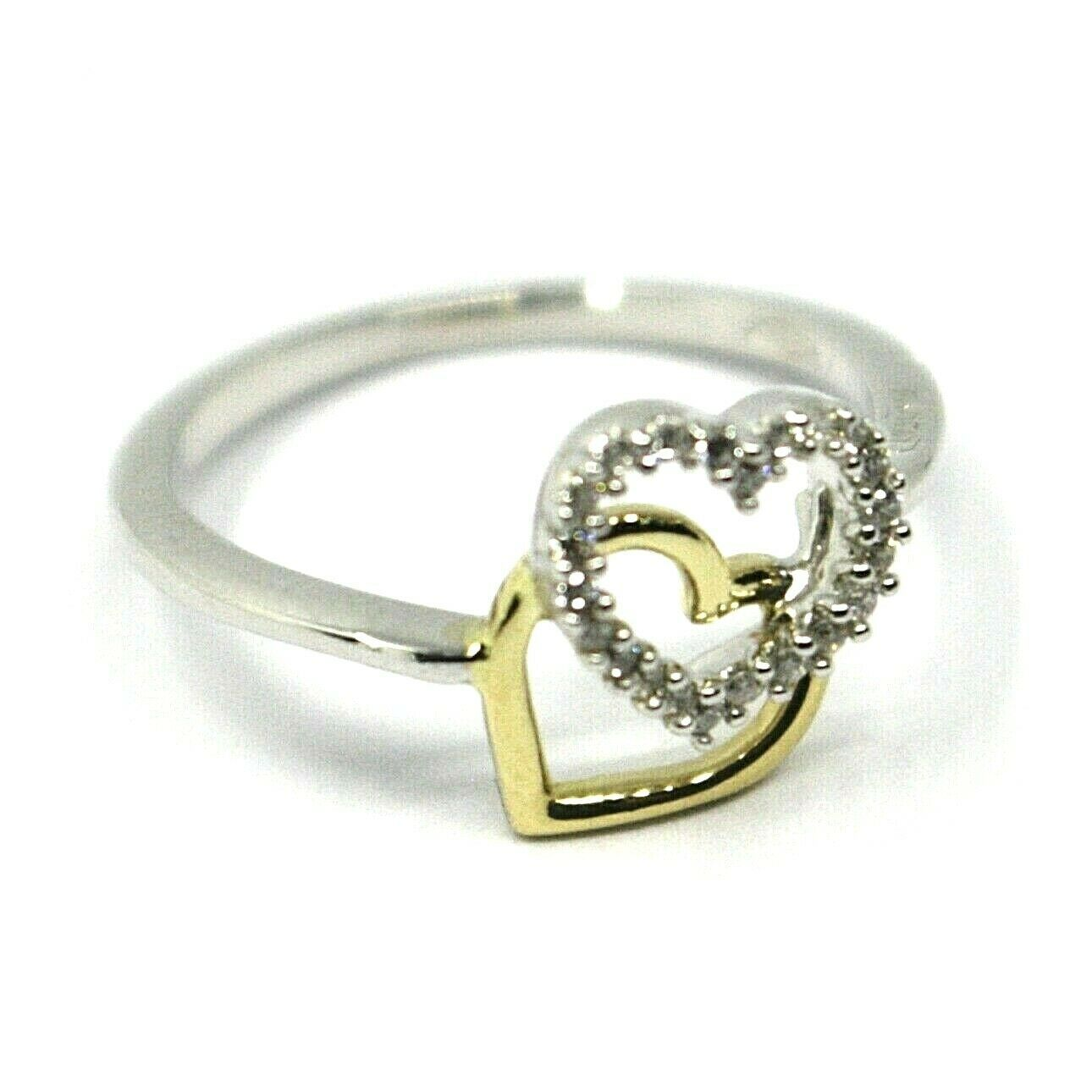 SOLID 18K YELLOW WHITE GOLD DOUBLE HEART RING WITH CUBIC ZIRCONIA