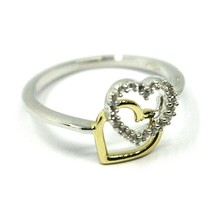 SOLID 18K YELLOW WHITE GOLD DOUBLE HEART RING WITH CUBIC ZIRCONIA  image 1