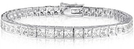 Venetia Solid 925 Silver 6 Carats 3mm Top Grade Princess Cut Simulated D... - $268.97