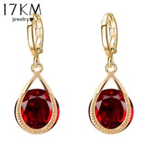 17KM® Long Crystal Water Drop Earrings Brincos Boucle Oreille Gold Silver Color - $3.76