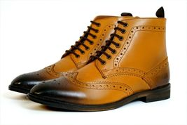 Handmade Men's Tan Burnished Wing Tip Brogue Style High Ankle Lace Up Leathe image 2