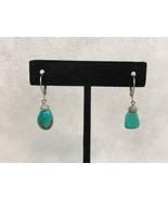 Turquoise Silver Tone Dangle Pierced Earrings - $5.00